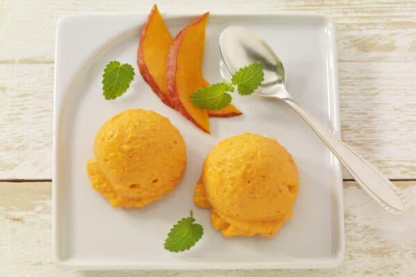Leckerer Frozen Joghurt mit Kürbis und Süßkartoffeln.